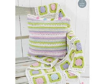 Crochet Pattern blanket and pillow case  Stylecraft 9147 aran  new