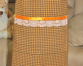 Ladies Apron-Black and Orange Check - Full length