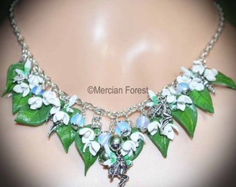 Snowdrop Flower Fairy Necklace - Handmade Fairy Jewellery Inspired the Fae, Sidhe, Spring Flowers, Imbolc