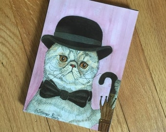 "Wood Panel, 5 x 7"", A distinguished gentleman cat Oiva, with bowler hat, A whimsical kitty"