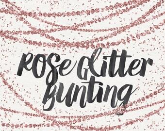 Rose Gold Glitter Bunting Clipart / Digital Bunting / Glitter Clip Art / Rose Gold Clip Art / Modern Clipart / Digital Border / Gold Border