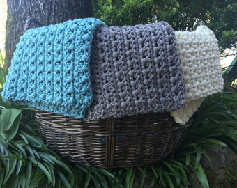 Crocheted mini blanket, basket liner, layering blanket, photo prop, textured mini blanket, baby accessory