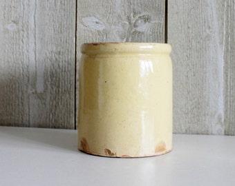 Antique pot. Vintage jar. French vintage. Stoneware pot. Glazed pot. Vintage storage. Stoneware jar. Antique stoneware pot. 1930s // D300
