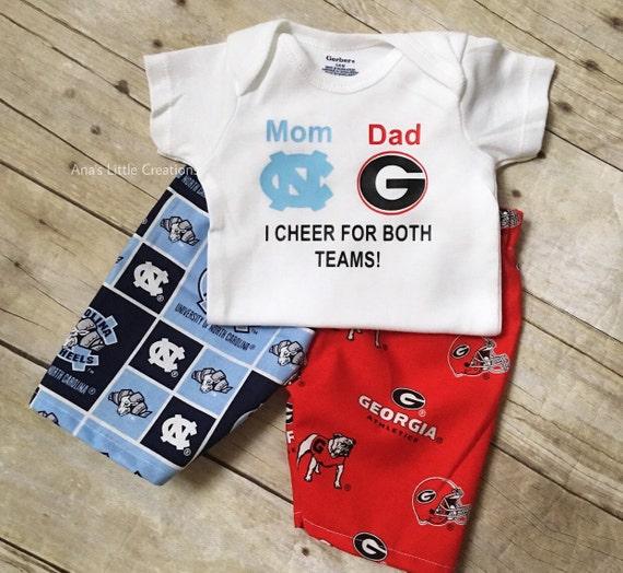 Custom House Divided Bodysuit ( Tar Heels- UGA) I Cheer For Both Teams and Pants or Shorts 2pc Set