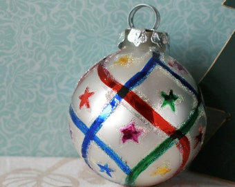 Silver with multicolour stars and stripes glass christmas ornament decoration hand painted