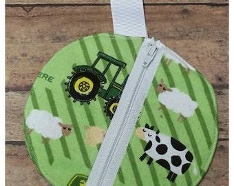 John Deere themed pacifier pouch, Binky bag, Paci pouch, Babyshower gift idea, Nursery design idea, Expecting announcement gift