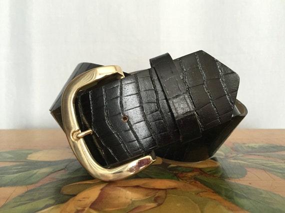 black belt gold buckle vintage wide high waist reptile texture