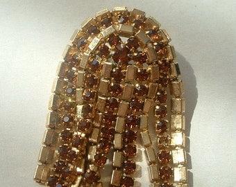 Amber rhinestone tassel brooch