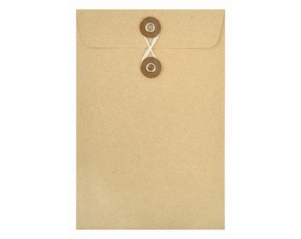 KRAFT PAPER ENVELOPES (Set of 5) - Kraft Envelope with String and Button Closure  (10cm x 15cm)