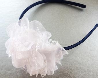 Navy Headband for Girl - Large Flower Head Band - White Lace Flower Headband for Girls - Satin Lined Headband for School - Girls Headband -
