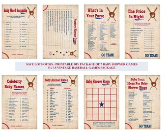 Vintage Baseball Baby Shower Game, Printable Baseball Game, Baseball Theme Baby Game, Baseball Shower, Sports Baby - Printables 4 Less 0004