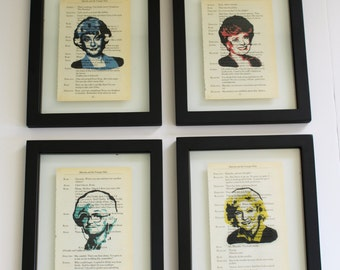FRAMED Golden Girls Prints on Vintage script paper, Set of Four, Blanche, Rose, Dorothy & Sophia