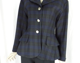 80s JUNKO SHIMADA 49 AV avant garde plaid peplum blazer/ Japanese designer based in Paris/ made in Japan: size 9
