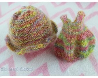 Mohair Hand made knitting Dress set for blythe.