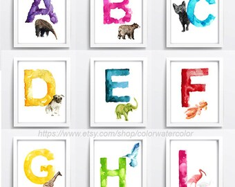 Watercolor Alphabet Set of 26 Art Prints, Baby Girl Boy Kids Initials Nursery Room Decor, Colorful A-Z Animals Painting, Wildlife Art Decor