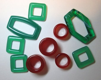 Destash of Vintage Glass Shapes in Red and Green