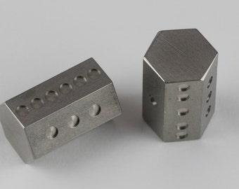 Hex dice - metal 6 sided hexagonal die, stainless steel (single)