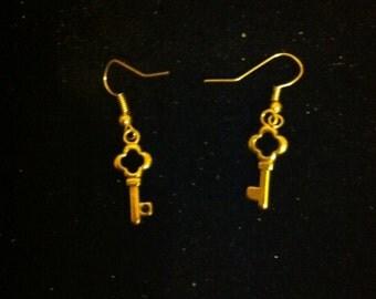 Gold Key Earrings, Ready to Ship, Small Gold Earrings