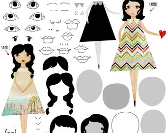 Art Doll Clip-art, Templates, Art Journal, scrapbooking, INSTANT DOWNLOAD - CU, Collage, Paper dolls, Doll Pattern, Printable, PaperCrafts