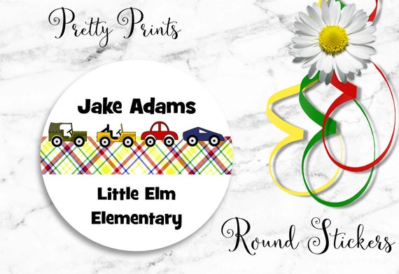 Personalized Stickers - Plaid - Cars Stickers - Set of 12 Round Labels - Personalized Labels -Tags, Back to School Stickers