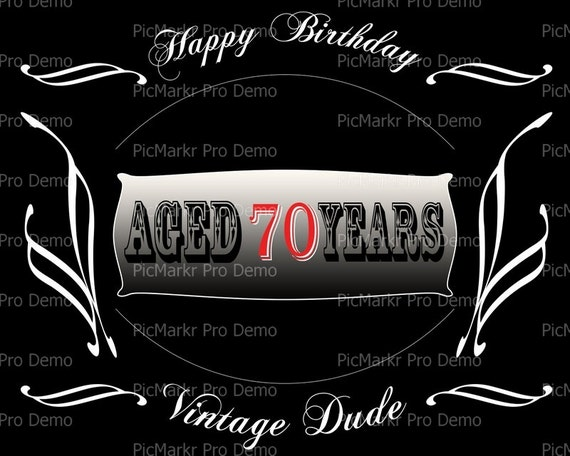 Aged 70 Years Birthday - Edible Cake and Cupcake Topper For Birthday's and Parties! - D21884