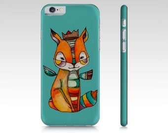 Phone Case, smart phone, fox, illustration by Kim Durocher, hard shell, for Iphone and Samsung Galaxy