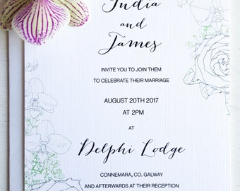 Rose and Orchid weddding invitation