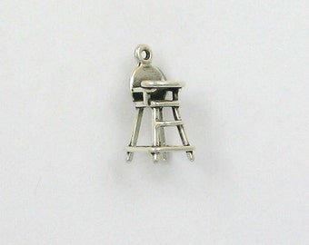 Sterling Silver 3-D High Chair Charm, - fhg27