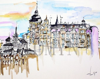 Stockholm. Sweden.  Beautiful architecture in the old town. Roof lines and details.  Original watercolor