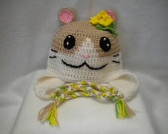 Cute hamster girl earflap hat