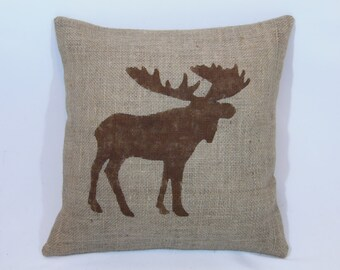 Custom made rustic burlap brown (or custom color) moose pillow cover/sham - multiple sizes and custom color option