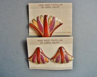 Vintage Carol Halmy Porcelain Set, Carol Halmy Set, Carol Halmy brooch, Carol Halmy pin, Carol Halmy earrings, Carol Halmy abstract set