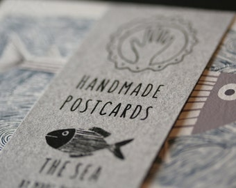 8 Handmade Screen Printed Postcards from The Sea