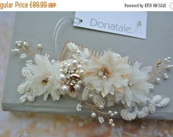 ON SALE Wedding hair comb, Rose Gold  Wedding Hair Piece, Bridal headpiece, Ivory Champagne  Bridal Hair Accessories, Bridal hair comb - SCA
