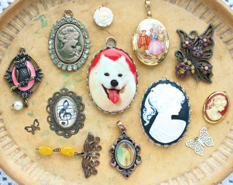 Cameos Locket and Butterflies - Instant collection of 12 Vintage Pendants - Destash Jewelry Assemblage Components