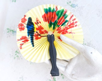 Small Paper Hand Fan - Parrot and Colorful Flowers