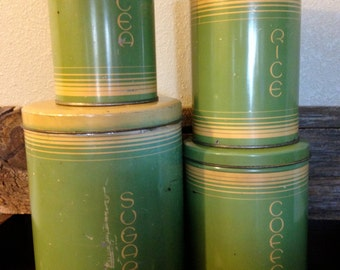 Awesome Vintage 1920s Tindeco 4-Can Tin Canister Set – Green & Yellow – Oriental-Style Text – Sugar, Coffee, Rice, Tea