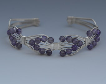 Sterling Silver Wire Wrapped Bracelet with Amethyst Beads