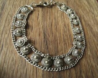 Sterling Silver 10 mm Etruscan Flower Bracelet 7-7.1/4 (978)