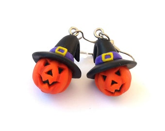 Jack O Lantern Earrings, Pumpkin Earrings, Halloween Earrings