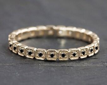 14k gold black diamond eternity band, wedding band, black diamond full eternity band, art deco inspired wedding band w-r103
