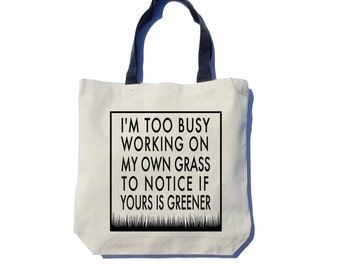 Green Grass Tote Bag, Screen Printed Tote Bag, Black Ink, Thick Canvas Bag
