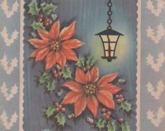Used Christmas Card, c1950s, fair shape, Poinsettia, Holly, Lantern