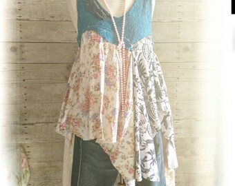 Pink Sunshine Shabby Funky upcycled floral rustic Boho altered lace artsy dress top tunic artsy lagenlook