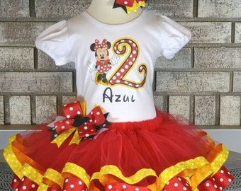 Minnie Birthday Tutu Set, Minnie Mouse Tutu, 1st Birthday Tutu, 2nd Birthday Tutu, Ribbon Trim Tutu, Red, Yellow, Black and White