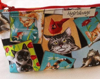 Cats and friends cosmetic bag. Cats bags, cats make-up bag, kitty zipper pouch.
