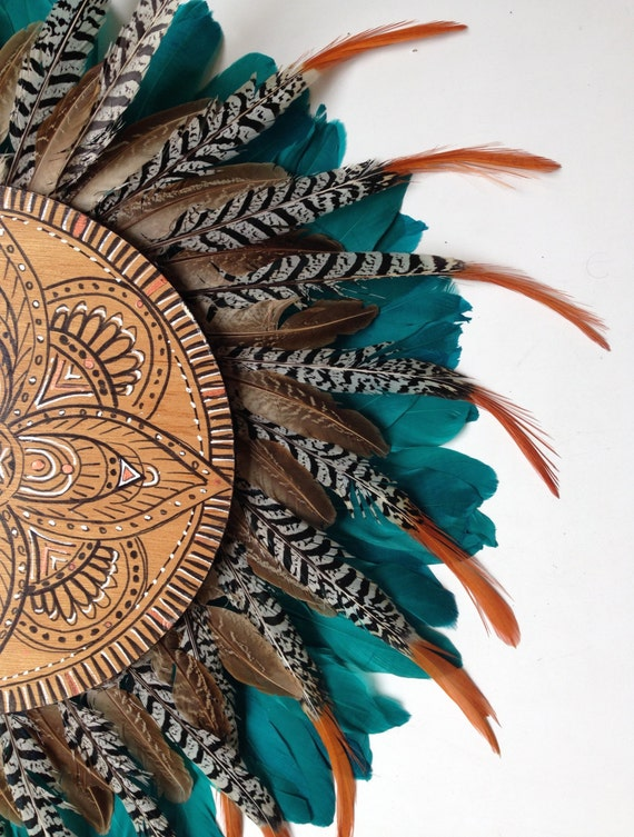 Tribal Sunrise Mandala Turquoise  Orange Feathers Round Wall Art, Boho Design,  Timber Porthole