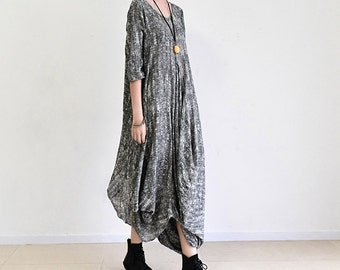 Cotton linen dress,Maxi dress,Large size ladies' dresses,long dress,Loose tie-dyed dresses,robe,gray - Women Clothing F536