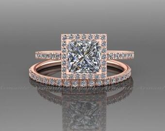 Moissanite / Natural Diamond Bridal Set / Rose Gold Engagement Set / Halo Ring /Wedding Ring Set / Wedding Set RE60.6W