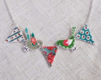 Bird necklace - Bunting necklace - Summer necklace - Birds and bunting - Bird lover